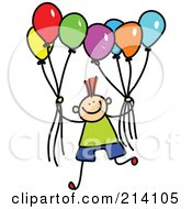 Royalty Free RF Clipart Illustration Of A Childs Sketch Of A Boy Holding Balloons by Prawny