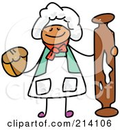 Royalty Free RF Clipart Illustration Of A Childs Sketch Of A Happy Baker With A Rolling Pin by Prawny