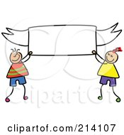 Childs Sketch Of Boys Holding A Blank Banner
