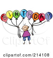 Royalty Free RF Clipart Illustration Of A Childs Sketch Of A Boy Holding Balloons Spelling Birthday by Prawny