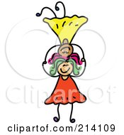 Royalty Free RF Clipart Illustration Of A Childs Sketch Of Girls Balancing