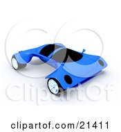 Futuristic Blue Sports Car With The Wheels Sticking Out Far On The Sides