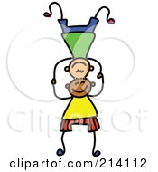 Royalty Free RF Clipart Illustration Of A Childs Sketch Of Boys Balancing