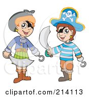 Royalty Free RF Clipart Illustration Of A Digital Collage Of Pirate Kids