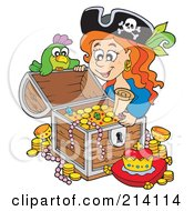 Royalty Free RF Clipart Illustration Of A Female Pirate Opening A Treasure Chest