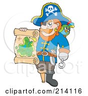 Royalty Free RF Clipart Illustration Of A Pirate Holding Out A Treasure Map