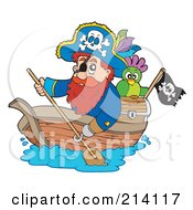 Royalty Free RF Clipart Illustration Of A Hook Handed Pirate Paddling A Boat