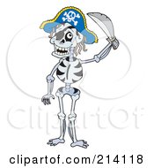 Royalty Free RF Clipart Illustration Of A Pirate Skeleton Holding A Sword