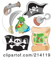 Royalty Free RF Clipart Illustration Of A Digital Collage Of Pirate Items 13 by visekart