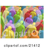 Clipart Illustration Of A Colorful And Diverse Crowd Of People Standing In Rows And Facing Front