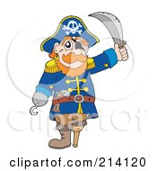 Royalty Free RF Clipart Illustration Of A Peg Legged Pirate Raising A Sword 3