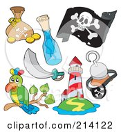 Royalty Free RF Clipart Illustration Of A Digital Collage Of Pirate Items 9 by visekart