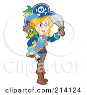 Royalty Free RF Clipart Illustration Of A Blond Pirate Girl Holding A Gun And Swrod