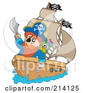 Captain Pirate On His Ship