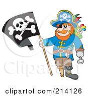 Royalty Free RF Clipart Illustration Of A Peg Leg Pirate Holding A Jolly Roger Flag