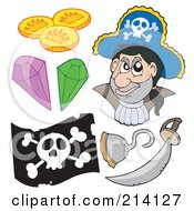 Royalty Free RF Clipart Illustration Of A Digital Collage Of Pirate Items 8
