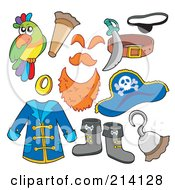 Royalty Free RF Clipart Illustration Of A Digital Collage Of Pirate Items 3