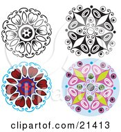 Clipart Illustration Of A Collection Of Four Floral And Butterfly Designs With Color And Black And White Versions