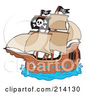 Royalty Free RF Clipart Illustration Of A Flag On A Pirate Ship by visekart