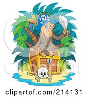 Royalty Free RF Clipart Illustration Of A Monkey Pirate Sitting On A Treasure Chest On A Beach