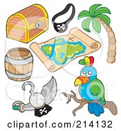 Royalty Free RF Clipart Illustration Of A Digital Collage Of Pirate Items 10