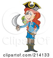Royalty Free RF Clipart Illustration Of A Female Pirate Raising A Sword