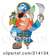 Royalty Free RF Clipart Illustration Of A Peg Legged Pirate Raising A Sword 2