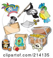 Royalty Free RF Clipart Illustration Of A Digital Collage Of Pirate Items 6