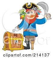 Royalty Free RF Clipart Illustration Of A Male Pirate Standing By A Treasure Chest