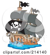 Royalty Free RF Clipart Illustration Of A Jolly Roger Flag On A Pirate Ship by visekart
