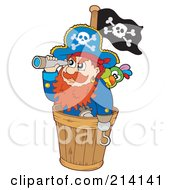 Royalty Free RF Clipart Illustration Of A Pirate And Parrot Looking Out