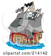 Royalty Free RF Clipart Illustration Of A Sailing Pirate Ship by visekart