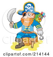Royalty Free RF Clipart Illustration Of A Male Pirate Sitting On A Treasure Chest