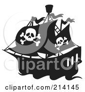 Royalty Free RF Clipart Illustration Of A Jolly Roger Flag On A Black And White Pirate Ship by visekart