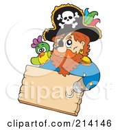 Hook Handed Pirate Holding A Wood Sign by visekart