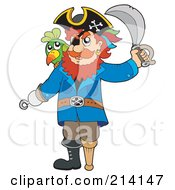Royalty Free RF Clipart Illustration Of A Peg Legged Pirate Raising A Sword 1