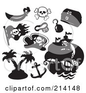 Royalty Free RF Clipart Illustration Of A Digital Collage Of Pirate Items 14