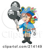 Royalty Free RF Clipart Illustration Of A Pirate Boy Holding Jolly Roger Balloons by visekart