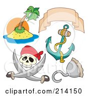 Royalty Free RF Clipart Illustration Of A Digital Collage Of Pirate Items 7 by visekart