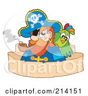 Royalty Free RF Clipart Illustration Of A Parchment Banner Around A Parrot And Pirate