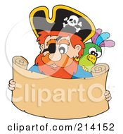 Royalty Free RF Clipart Illustration Of A Male Pirate Reading A Blank Scroll