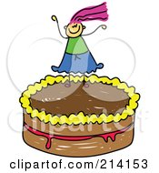 Royalty Free RF Clipart Illustration Of A Childs Sketch Of A Girl On A Cake by Prawny