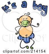 Childs Sketch Of Its A Boy Text And Baby