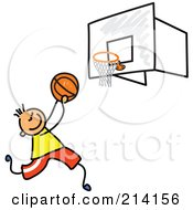 Royalty Free RF Clipart Illustration Of A Childs Sketch Of A Boy Playing Basketball by Prawny