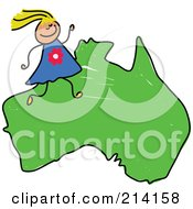 Royalty Free RF Clipart Illustration Of A Childs Sketch Of A Happy Australian Girl On A Map Of Asia by Prawny