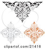 Clipart Illustration Of A Collection Of Three Ornamental Elements One Black And White One Gray And One Orange