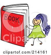 Royalty Free RF Clipart Illustration Of A Childs Sketch Of A Girl Reading A Giant Book by Prawny