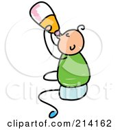 Royalty Free RF Clipart Illustration Of A Childs Sketch Of A Baby Boy Drinking From A Bottle