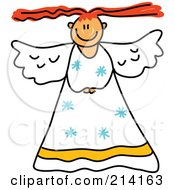 Royalty Free RF Clipart Illustration Of A Childs Sketch Of A Peaceful Angel 1
