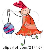 Childs Sketch Of A Girl Carrying A Christmas Ball